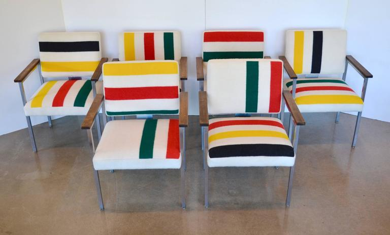 Mid Century Chairs With Stainless Frames, Wood Arms U0026 Pendleton Stripes:  Each In