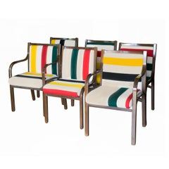 1970s Bentwood Dining Chairs in New Pendleton Blanket Upholstery, Set of Six