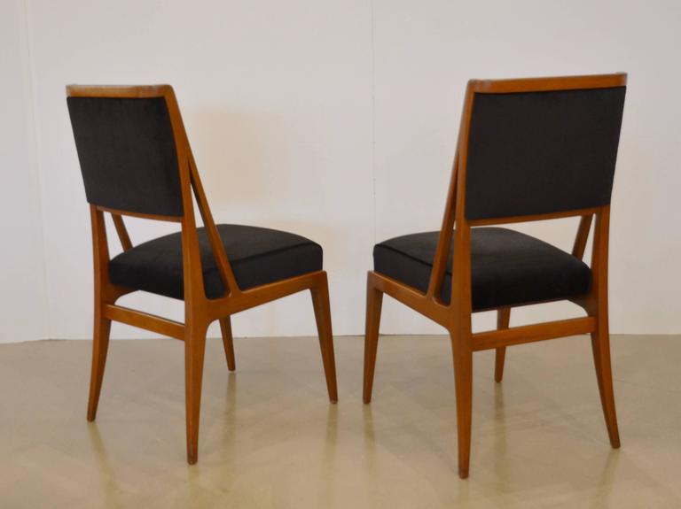 Mid century walnut dining chairs bertha schaefer style for Singer dining room set