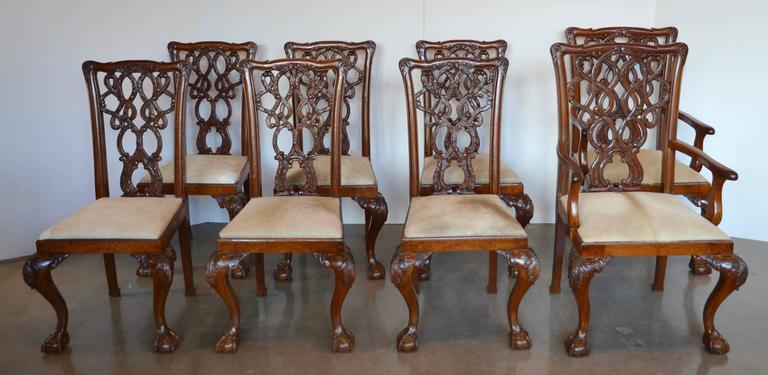 Particularly handsome set of English mahogany Chippendale dining chairs. Gorgeous wood grain and depth to finish, solid and comfortable. Substantially carved backs and ball or claw feet. Newly upholstered seats in fawn cowhide. Eight total chairs,
