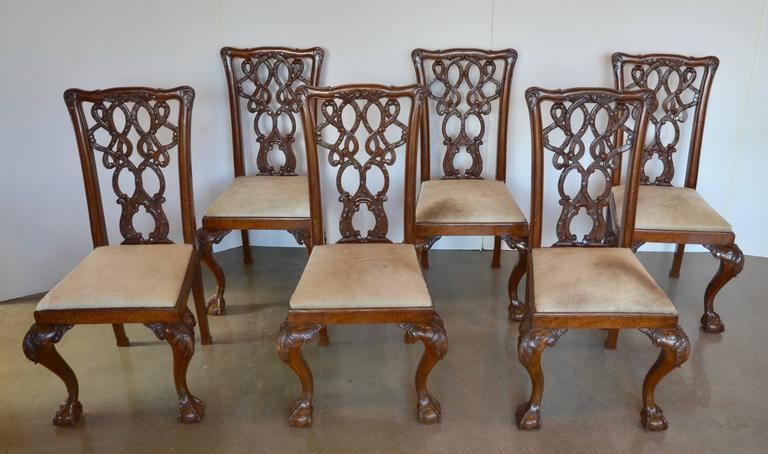 Carved English Mahogany Chippendale Dining Chairs in Cowhide For Sale