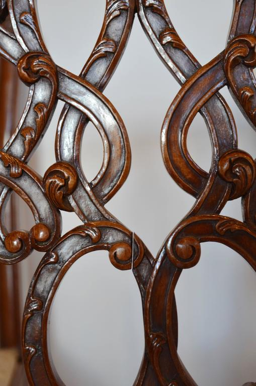English Mahogany Chippendale Dining Chairs in Cowhide In Good Condition For Sale In Austin, TX