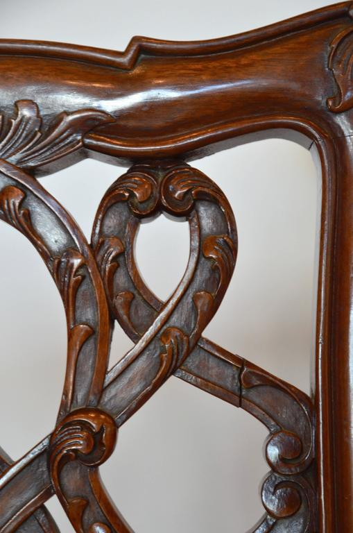 English Mahogany Chippendale Dining Chairs in Cowhide For Sale 1
