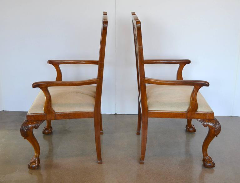 English Mahogany Chippendale Dining Chairs in Cowhide For Sale 3