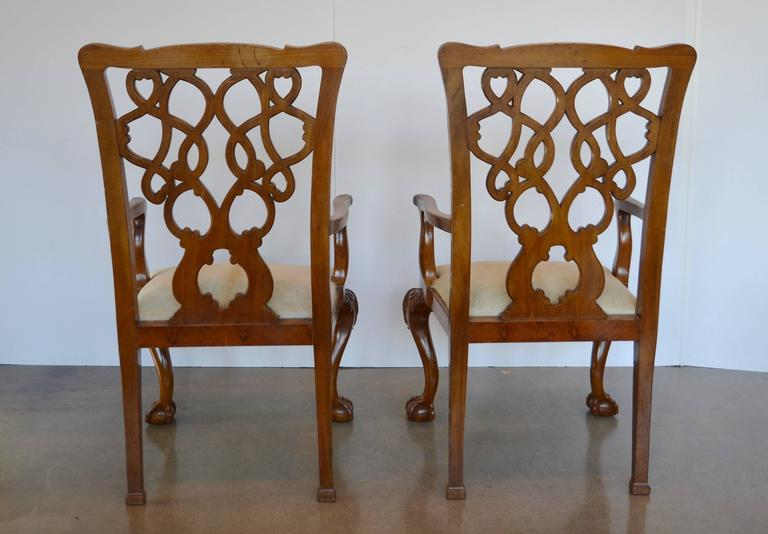 English Mahogany Chippendale Dining Chairs in Cowhide For Sale 4