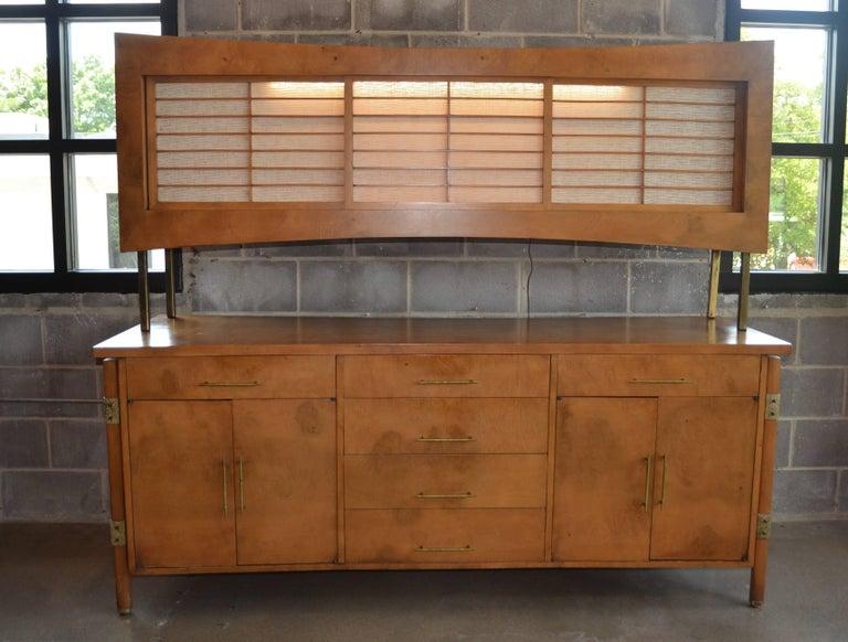 Harold schwartz for romweber burled sideboard with shoji for Upper cabinets for sale