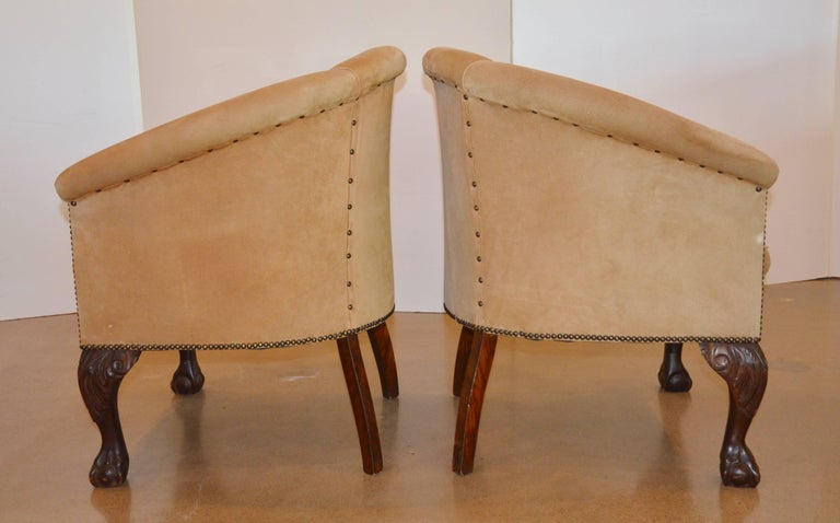 Vintage Barrel Back Chairs In Suede With Ball And Claw At