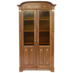 Oak Dutch Art Nouveau Bookcase with Impressive Inlay