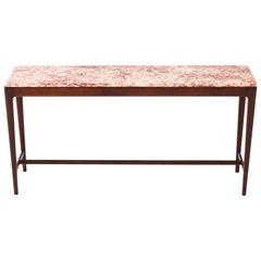 Danish Mid-Century Modern Mahogany Console Table with Marble Top, 1960s