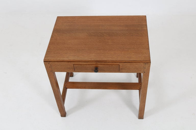 Oak Art Deco Haagse School Writing Table by Paul Bromberg for H.P. Pander, 1920s For Sale 4