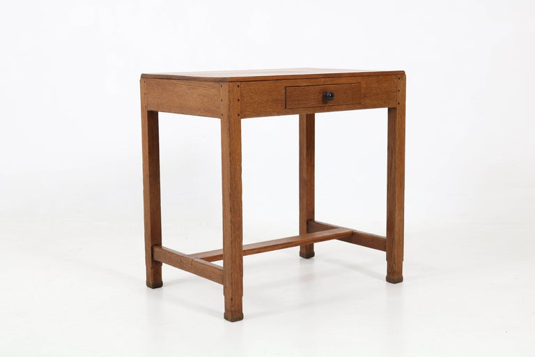 Oak Art Deco Haagse School Writing Table by Paul Bromberg for H.P. Pander, 1920s For Sale 1