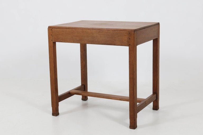Oak Art Deco Haagse School Writing Table by Paul Bromberg for H.P. Pander, 1920s For Sale 3