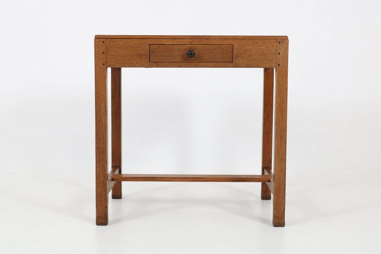 Early 20th Century Oak Art Deco Haagse School Writing Table by Paul Bromberg for H.P. Pander, 1920s For Sale