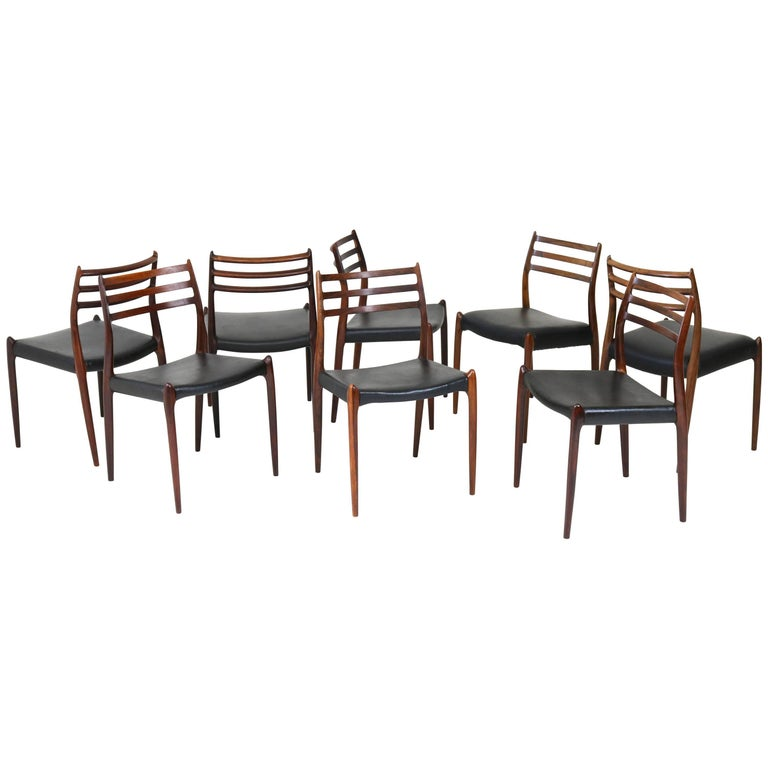 Eight Mid-Century Modern Rosewood Chairs Model 78 by Niels O. Møller, 1960s