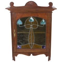 Walnut French Art Nouveau Wall Cabinet with Original Stained Glass Door, 1900s