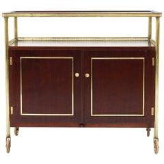 Mahogany, Brass French Hollywood Regency Bar Cart, 1950s