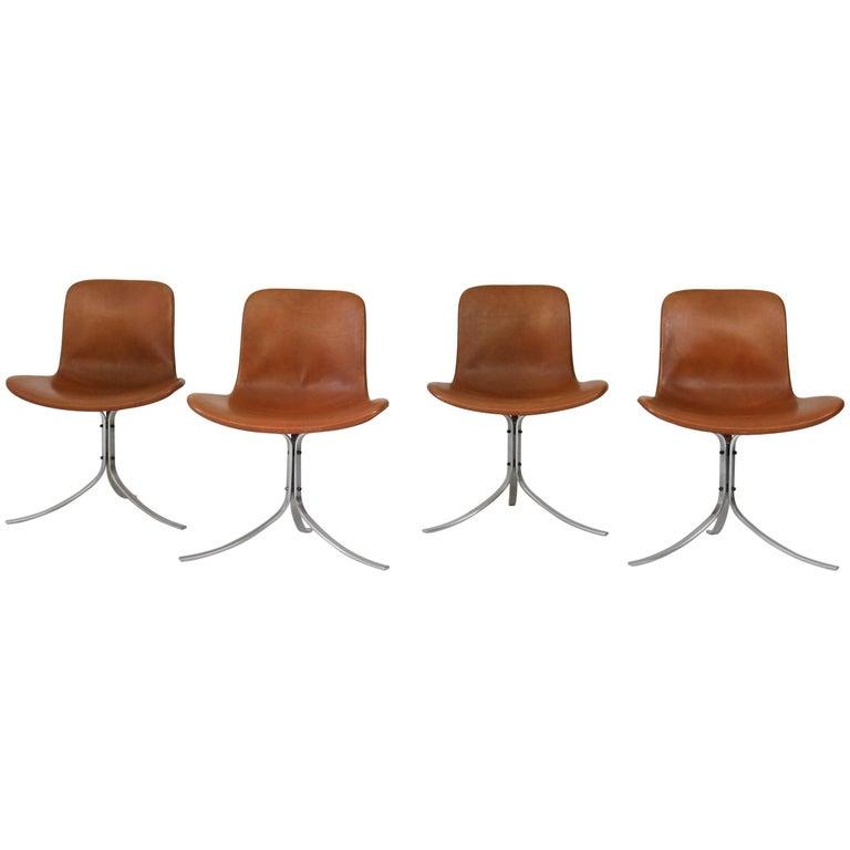 Set of Four PK-9 Chairs by Poul Kjaerholm for E. Kold Christensen, 1960s