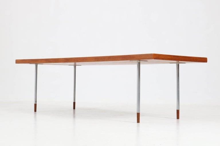 Chrome Teak Mid-Century Modern Coffee Table by Rudolf Bernd Glatzel for Fristho, 1960s For Sale