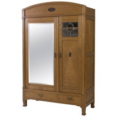 Dutch Oak Art Nouveau Armoir or Wardrobe, 1900s