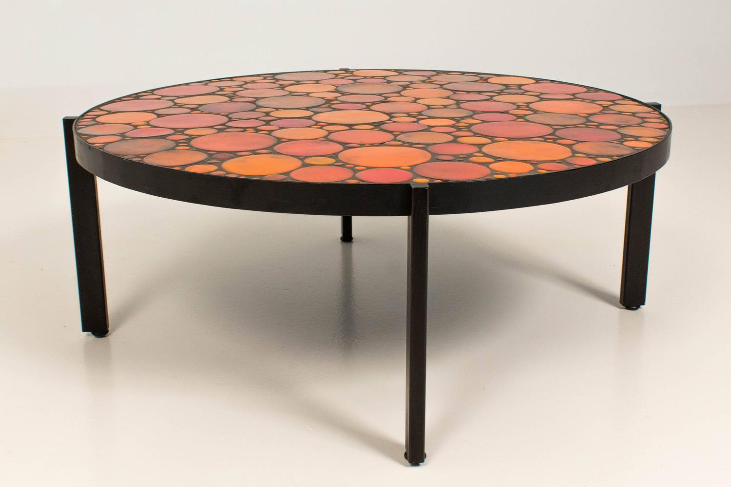 Mid century modern coffee table with mosaic tile top for Tile top coffee table