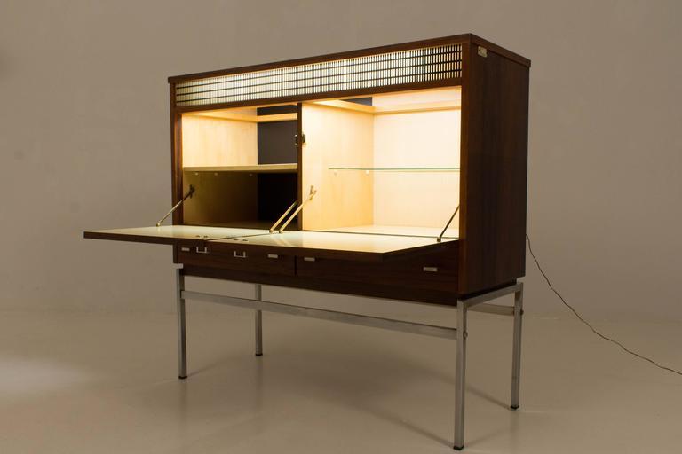 Aluminum Stylish Mid Century Modern Bar Cabinet Belgium 1960s For