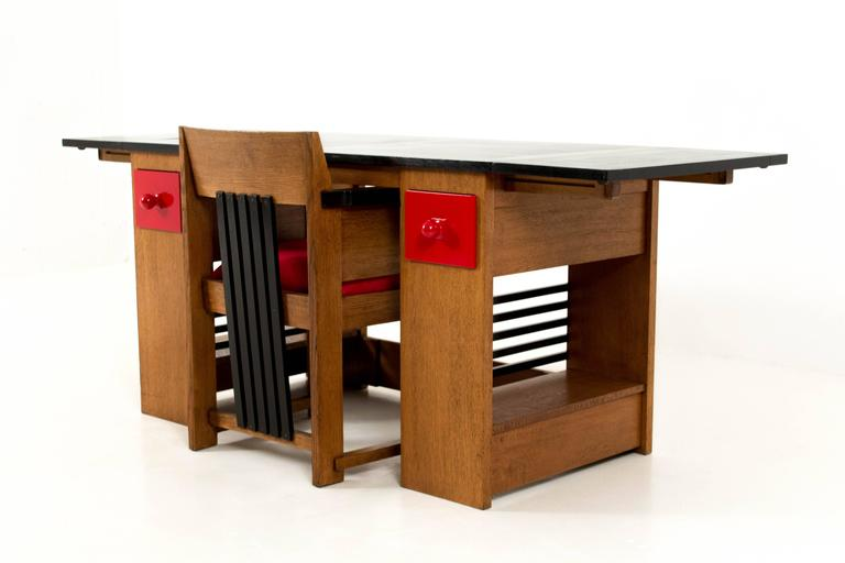 Haagse School Meubels : Important and rare art deco haagse school desk and armchair by