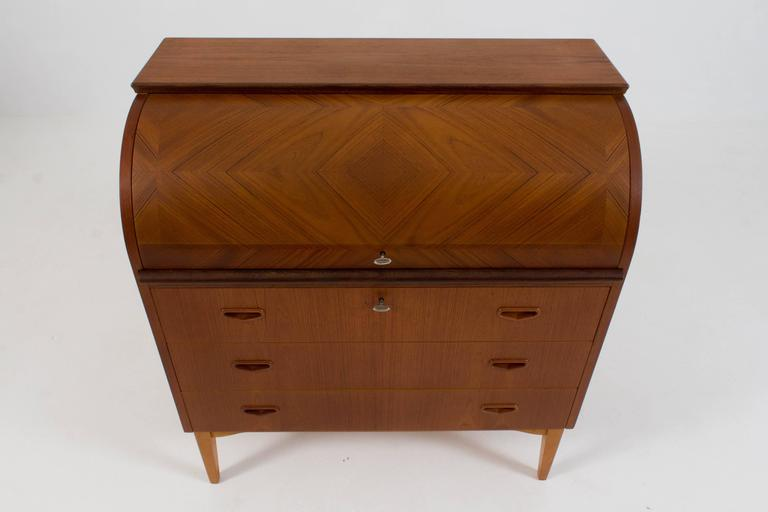 stylish mid century modern roll top desk by broderna gustafssons 1960s for sale at 1stdibs. Black Bedroom Furniture Sets. Home Design Ideas