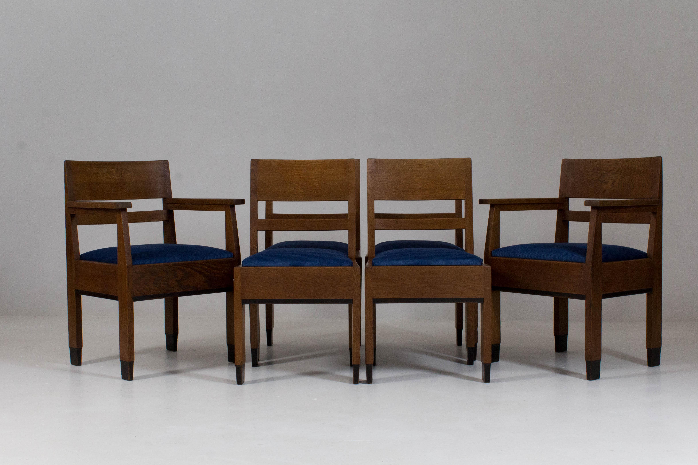 Haagse School Meubels : Set of six art deco haagse school chairs by h fels for l o v
