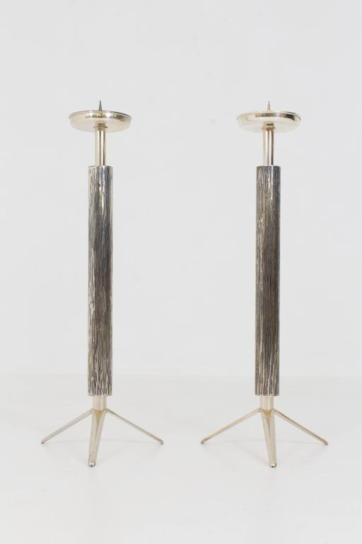 Fabulous pair of French Mid-Century Modern candelabras or candlesticks 1970s.