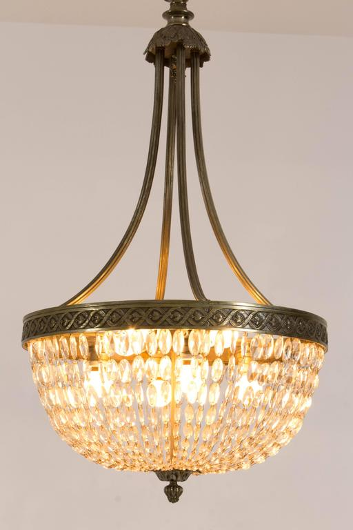 Stunning French Art Deco Crystal Chandelier, 1930s 2