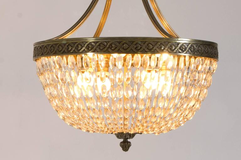 Stunning French Art Deco Crystal Chandelier, 1930s 3