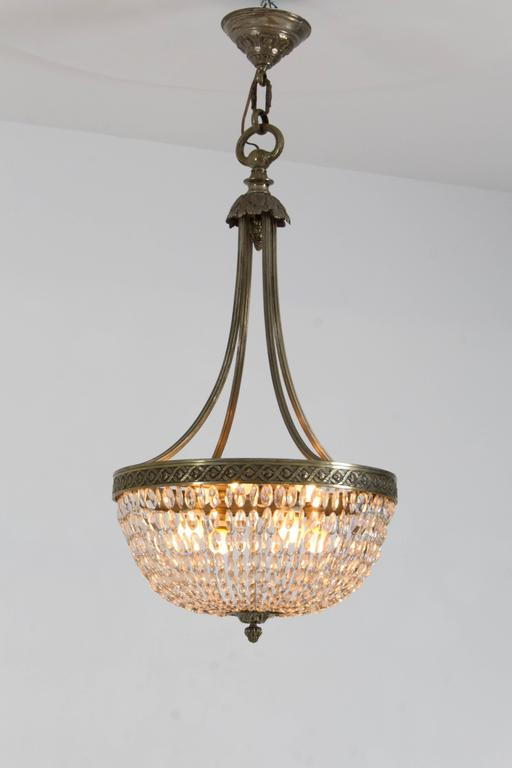 Stunning French Art Deco Crystal Chandelier, 1930s 4