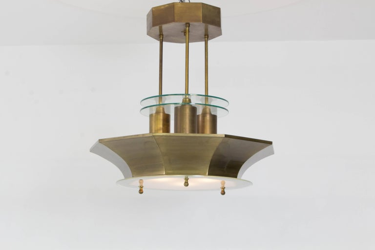 Rare And Impressive Art Deco Haagse School Chandelier 1930s Original Solid Brass Frame With