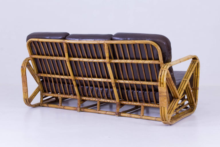 Mid century modern rattan sofa and lounge chairs paul - Rattan living room furniture for sale ...