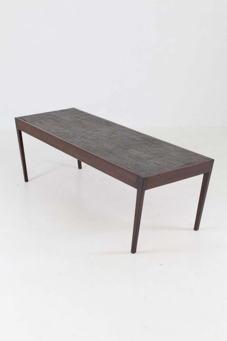 Dutch mid century modern wenge coffee table with slate top 1960s for sale at 1stdibs Slate top coffee tables