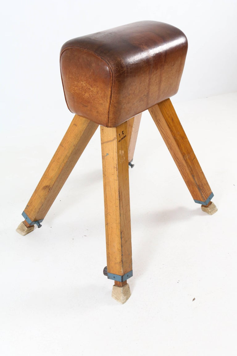 Vintage Dutch Vaulting Horse In Beechwood And Leather