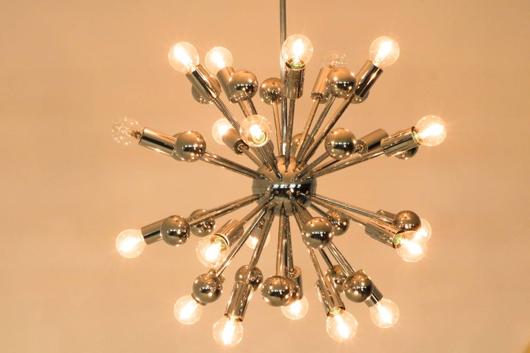 Late 20th Century Chrome French Mid-Century Modern Sputnik Chandelier, 1970s For Sale