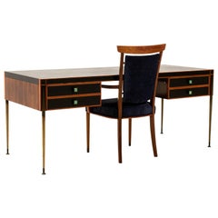 Rosewood/Faux Leather Italian Writing Table with Armchair, 1950s