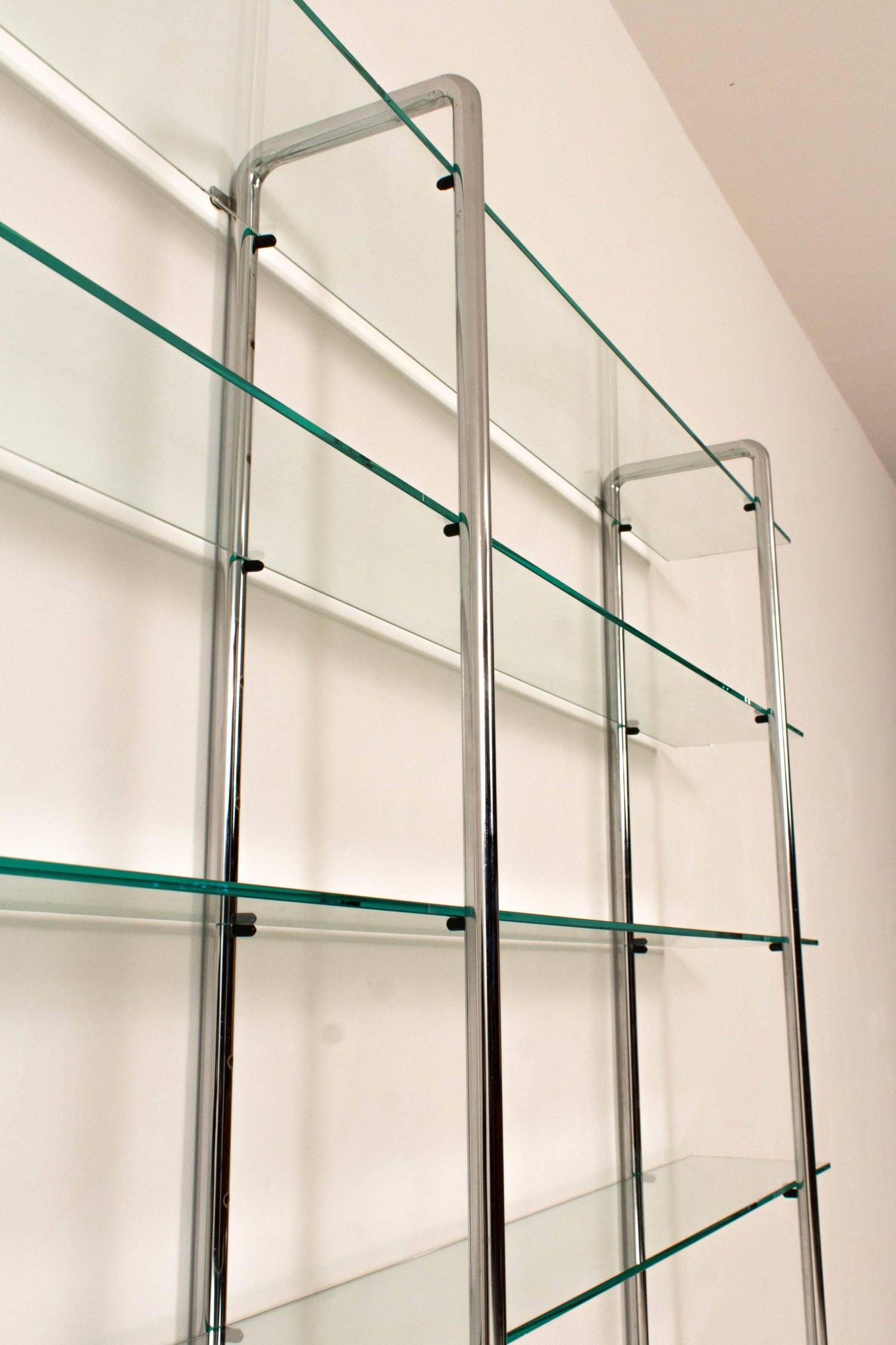 Large Chrome Tubular Steel And Glass Art Deco Shelving Unit,