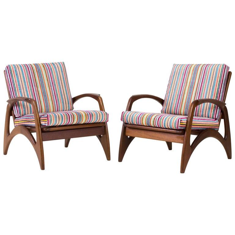 Pair of Mid-Century Modern Teak Lounge Chairs by De Ster Gelderland, 1960s