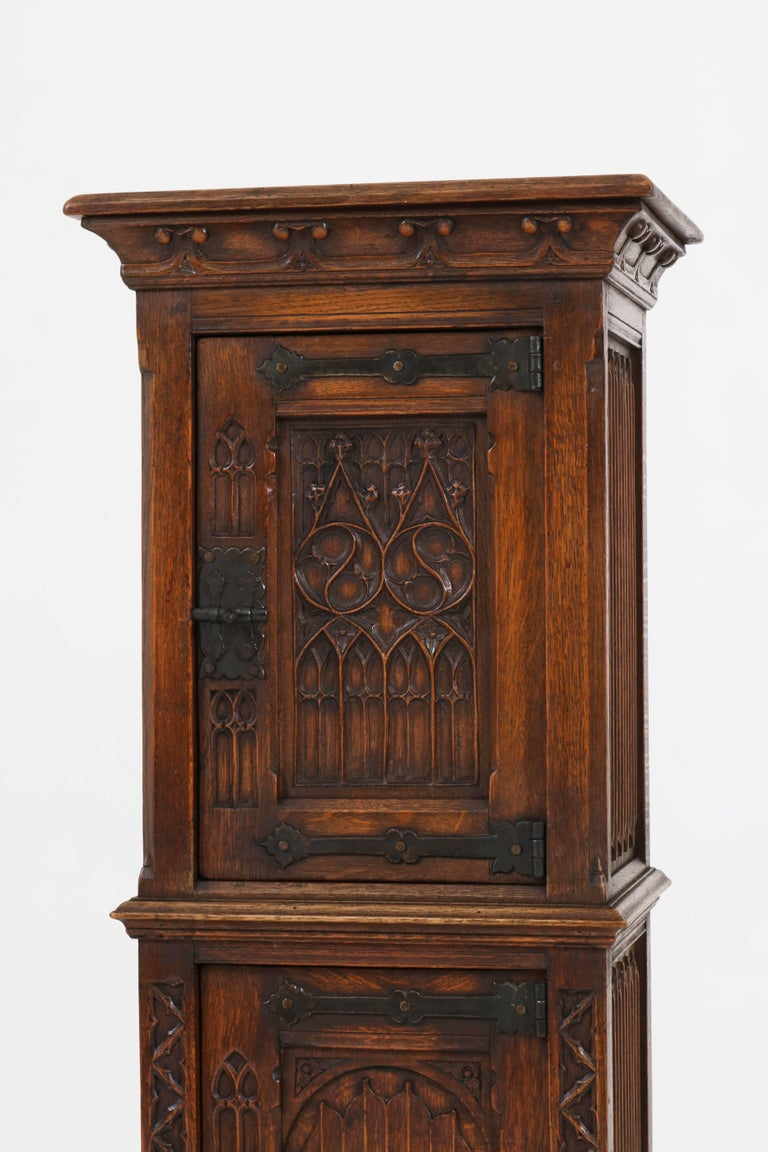 Solid Oak Dutch Gothic Revival Cabinet Or Dry Bar 1940s