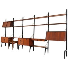 Freestanding Large Modular Wall Unit by Louis Van Teeffelen for Webe, 1950s
