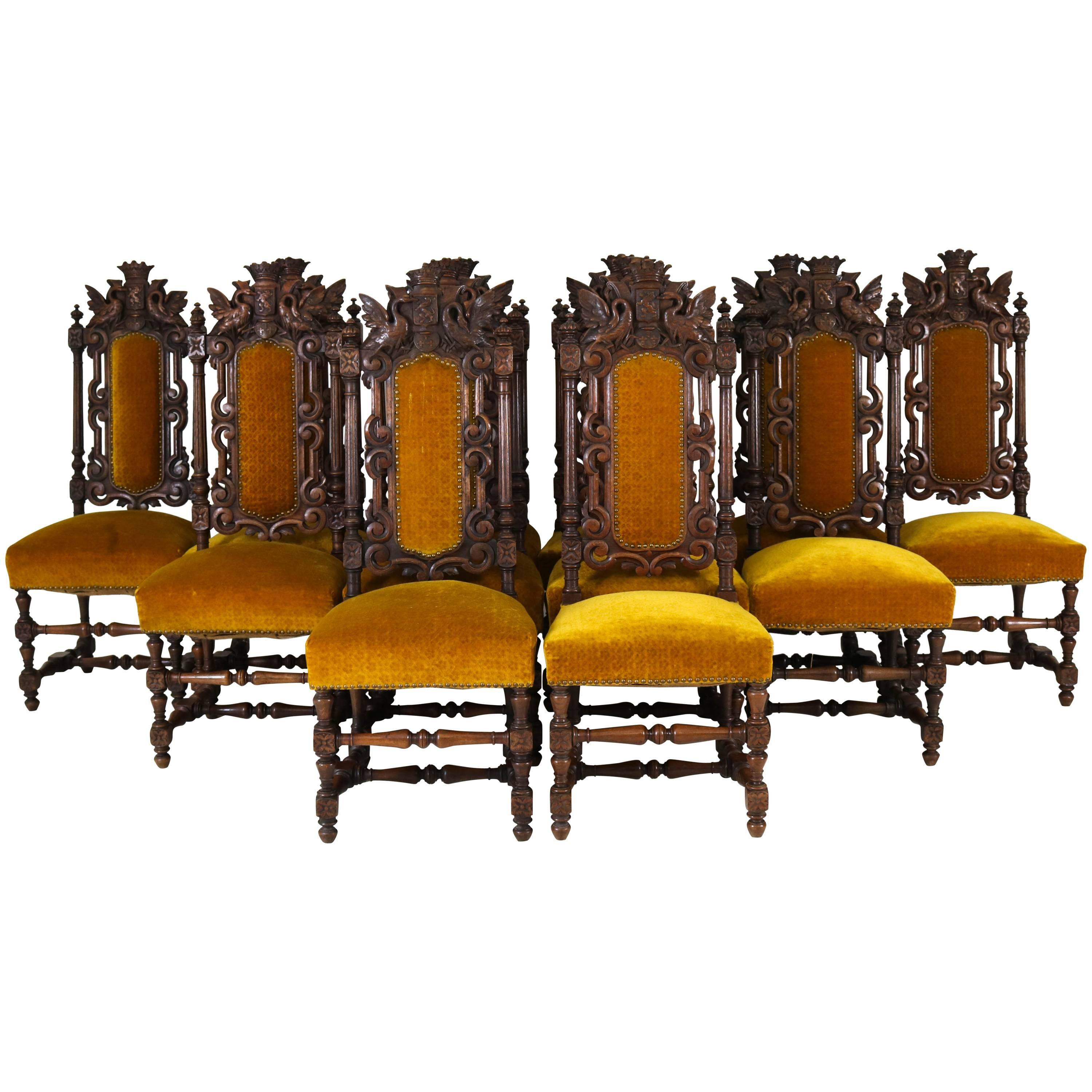 Bon Twelve Solid Oak 19th Century Renaissance Revival Hand Carved Chairs With  Crowns For Sale