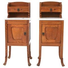 Pair of Oak Dutch Art Nouveau Nightstands, 1900s