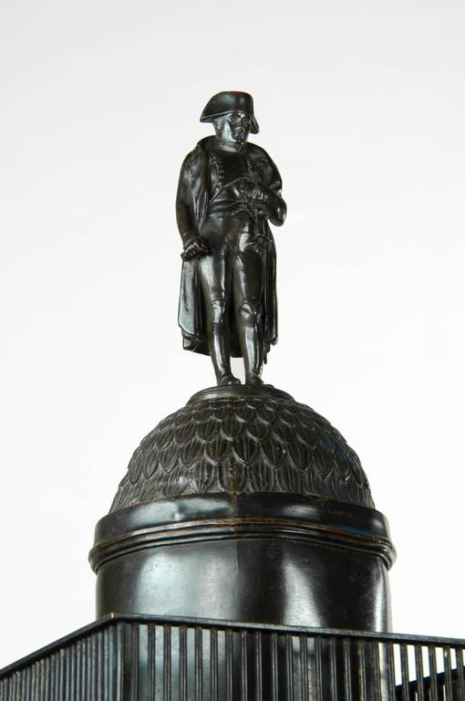 Carved Very, very impressive c. 1835 bronze model of the Vendome Column, Paris For Sale