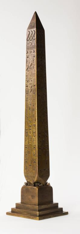 Egyptian Revival Tiffany & Co. 1881 Bronze Architectural Model of Cleopatra's Needle Obelisk, NY For Sale