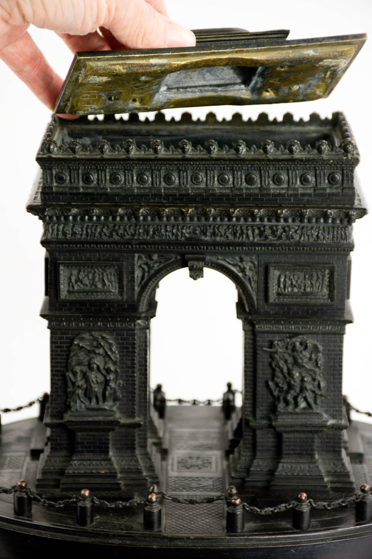 Detailed 19th Century Grand Tour Bronze or Marble Model of the Arc De Triomphe In Excellent Condition For Sale In Lafayette, CA