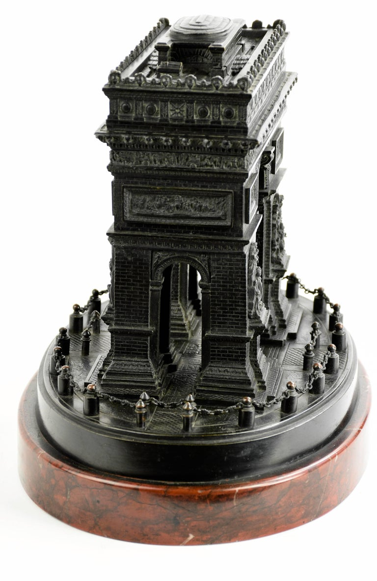 French Detailed 19th Century Grand Tour Bronze or Marble Model of the Arc De Triomphe For Sale