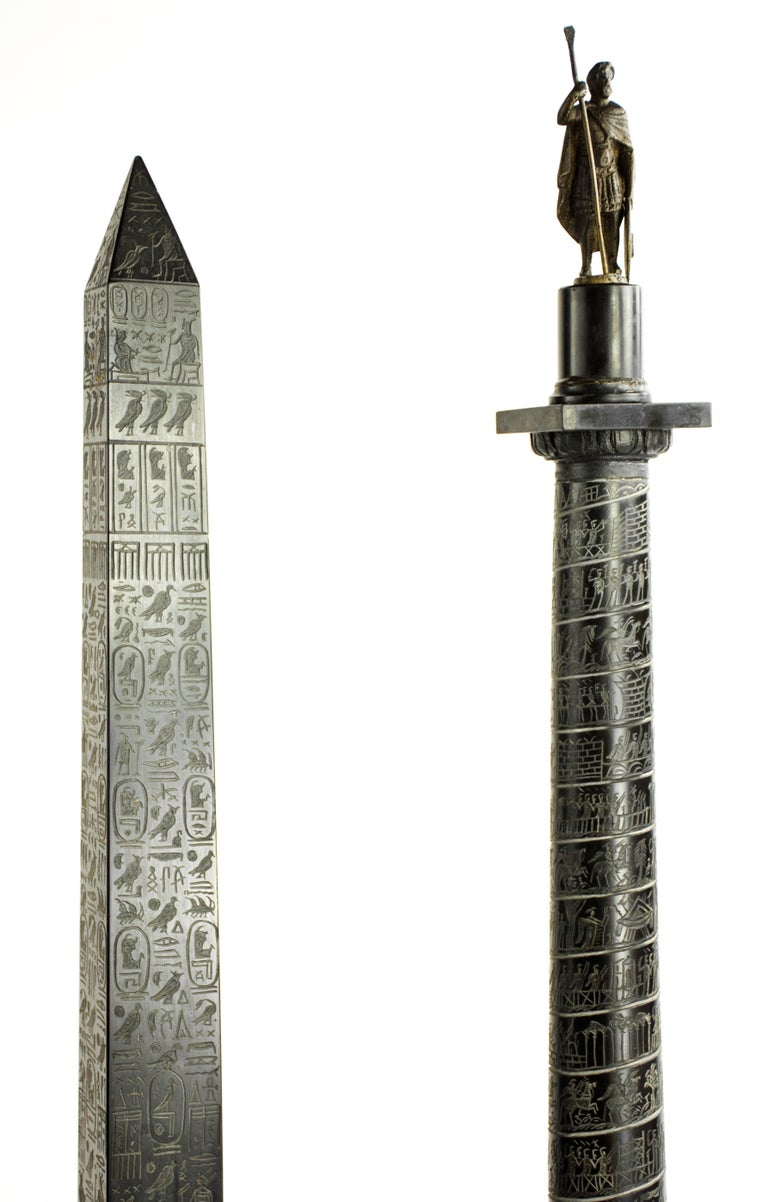 Mid-19th Century Pair of Rare Grand Tour Models of the Marcus Aurelius Column and Solar Obelisk  For Sale