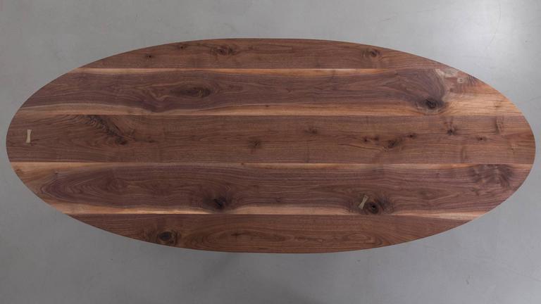 Bowen Dining Table by Uhuru Design, solid walnut top, blackened steel base 2